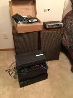 Sony VCR recorder, RCA Pro Logic receiver, Sony 5 disc player, GE digital alarm clock radio, box of cordless phones & answering machine, speaker boxes made into nightstands (guts still inside)
