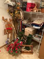 Holiday decor, cat decor, wall shelf, wreathes, tchotchkes, wind chimes and more.