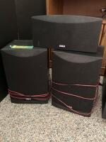 RCA surround sound set up- center speaker, pair of main speakers, pair of surround speakers and subwoofer model SP2051AW. Also included is a double door entertainment cabinet that measures 30 x 17 x 26. - 2