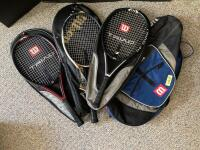 Wilson racket bag with three Wilson rackets-Triad 5.0, Hammer 6.2 Stretch and Hammer.