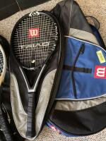 Wilson racket bag with three Wilson rackets-Triad 5.0, Hammer 6.2 Stretch and Hammer. - 2