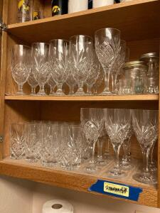 Leaded crystal stemware. 3pc set for twelve and a wine bottle opener.