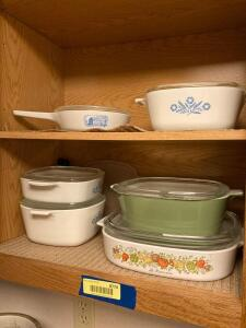 CorningWare, Pyrex loaf pan and storage containers.