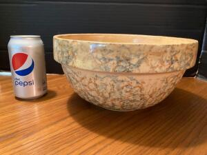 Spongeware crock bowl. See photos for chips/damage.