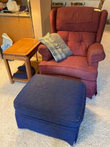 La-Z-Boy rocking recliner w footstool, side table w pull out tray and 4' swing arm lamp. Table measures 15 x 22 x 20. Some damage to recliner. See photos.