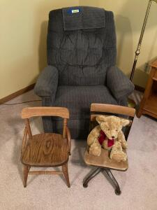 La-Z-Boy rocking recliner for mom (or dad) and time out chairs for the kiddos.