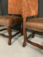 Pair of straight back pleather padded sitting chairs - 2