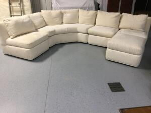 "Baker Furniture Company 4 piece set with matching ottoman Pillow backs are 75% waterfowl feathers and 25% down Measures 7.5' L w/ three 28"" sections Very comfortable and would be great as either couch with chaise lounger, or couch with matching chair and"