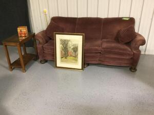 7' three cushion vintage sofa, glass top end table, decorative books(okay, its a Kleenex holder) and framed original etching of Yale Divinity School signed by Robert Kasimir  Measures 23 x 28