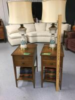 Two Imperial Furniture end tables with mahogany finish, matching table lamps with china base and books End tables measure 14 x 21 x 26