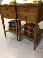 Two Imperial Furniture end tables with mahogany finish, matching table lamps with china base and books End tables measure 14 x 21 x 26 - 3
