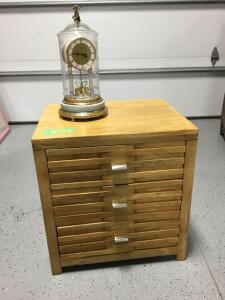 Modern night stand and anniversary style clock Measures 22 x 18 x 23 Clock is marked Decor de Paris, Hettich, Made in West Germany.