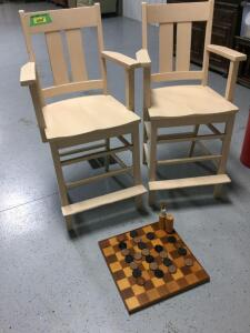 "Vintage pool hall chairs with 26"" tall seats, wooden checkers and pick-up sticks"