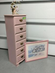 Modern pink 6 drawer dresser, nautical art and porcelain mother with child on swing Dresser measures 18 x 15 x 54
