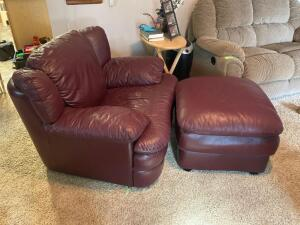 "Burgundy pleather arm chair with ottoman Arm chair measures 42""W.  See photos for damage"