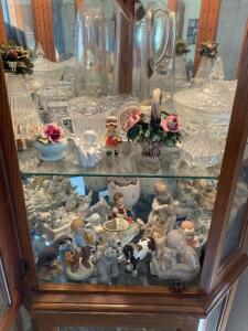 Contents of cabinet-figurines, crystal, carnival glass, music boxes Lots of cute things!!