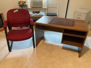 Home office setup-chair, desk and two drawer letter file cabinet Desk measures 42 x 23 x 26 and file cabinet measures 15 x 25 x 29
