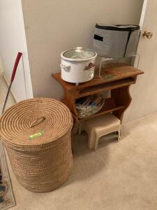 "21"" wicker basket, step stool, painting supplies, Proctor-Silex slow cooker w carry case and side table Table measures 29 x 12 x 29"