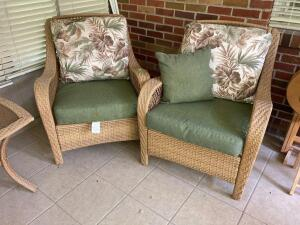 Plicker patio arm chairs with reversible cushions   **Matches pieces in Lots 9049-9052**