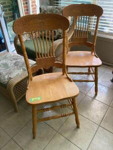 Two modern dining chairs See photos for damage