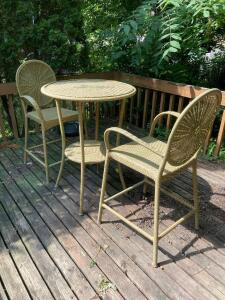 Plicker bar set with two chairs Table measures 28 x 37