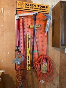 Klein tools sign, level, sprinkler, caulk gun, drop cord, work light and more