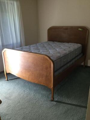 Birds eye maple full size bed w headboard/footboard, side rails and slats  **Mattress & Box Spring not included**