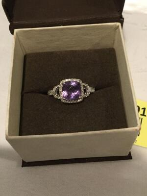 Rogers Jewelers Women's sterling silver amethyst and diamond ring, size 7  **See updated photos**