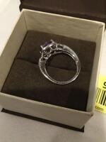Rogers Jewelers Women's sterling silver amethyst and diamond ring, size 7  **See updated photos** - 3