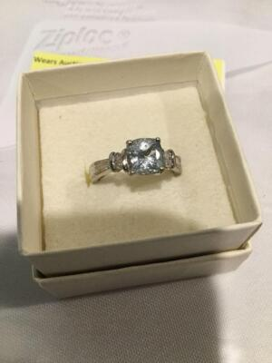 Women's sterling silver aquamarine and diamond ring, size 6.5  **See updated photos**