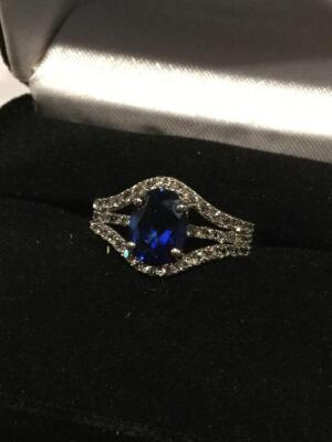 Kay Jewelers Women's sterling silver sapphire and diamond ring, size 6.5  **See updated photos**
