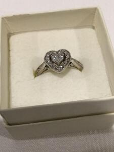 Women's sterling silver heart shaped diamond ring, size 6.5  **See updated photos**
