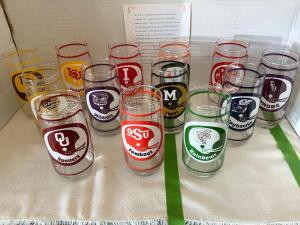 Sam's Football Collector's Series glasses. Set offers the Go Big Red' glass and a glass for each of Nebraska's 1976 opponents. Made by Anchor Hocking.