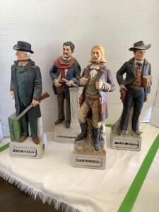 Four McCormick Distilling Company decanters-Wild Bill Hickok, Black Bart, Doc Holliday and Jesse James