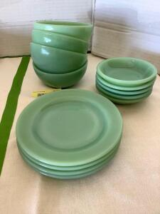 Fire King jadeite- 4 dessert plates, 4 cereal bowls and 5 berry bowls
