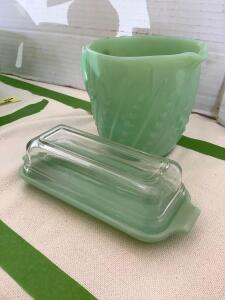 Fire King jadeite covered butter dish and beaded milk pitcher