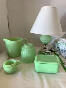 McKee jadeite-lamp, shade cover, refrigerator dish, pitcher and measuring cups