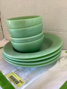Fire King jadeite-4 cereal bowls and 4 soup bowls