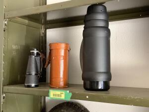 Binoculars and Thermos brand glass lined thermos