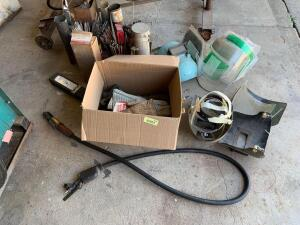 Large quantity of welding rods, welding helmets, gloves, two sets of leathers etc