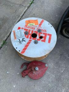 "3/8 x 150' cable approx. and Crosby 2 ton 6"" snatch block pulley"
