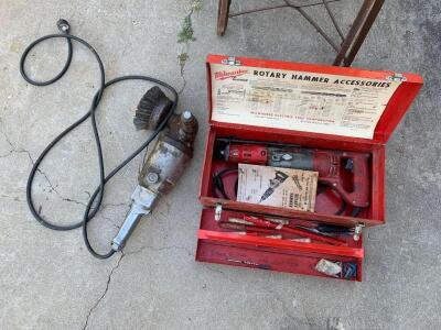 "Milwaukee rotary hammer with bits and a 6"" offset grinder with wire wheel"