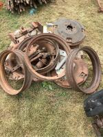 4 Allis Chalmers weights Thompson TH 18022 , 4 rims, brackets, back tire rim, These are for a highboy - 2