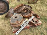4 Allis Chalmers weights Thompson TH 18022 , 4 rims, brackets, back tire rim, These are for a highboy - 5