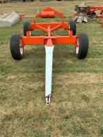 heavy duty wagon running gear four implement tires on six hole rims painted AC orange colors - 3
