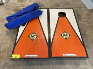 Allis Chalmers logoed cornhole game (missing bags) and two bag chairs