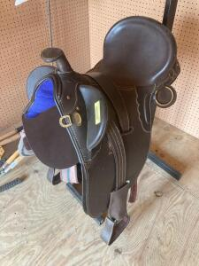 Black Australian stock saddle and pad