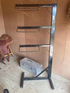 Three saddle metal rack and aluminum tool box