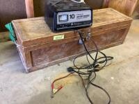 3' Wooden toolbox and contents, portable air compressor, Schumacher 10amp battery charger