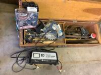3' Wooden toolbox and contents, portable air compressor, Schumacher 10amp battery charger - 2